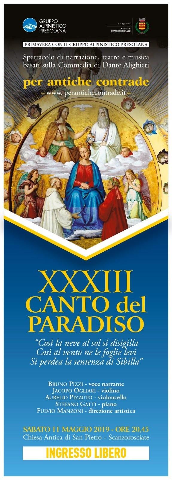 SERATA CULTURALE – XXXIII CANTO DEL PARADISO